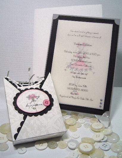 Wedding Shower invite - Black - White