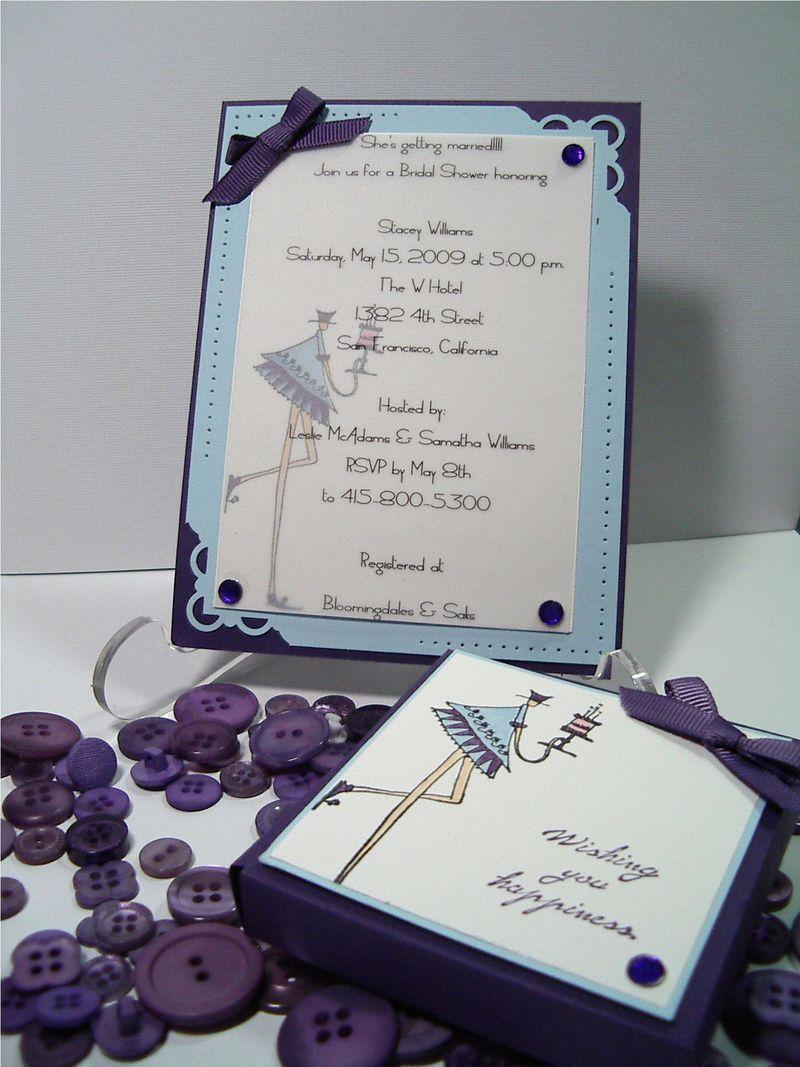 Wedding Shower invite - purple - baby blue