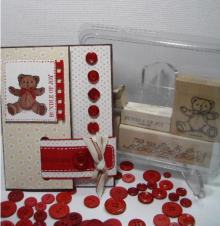 Teddy & Train stamp set - card