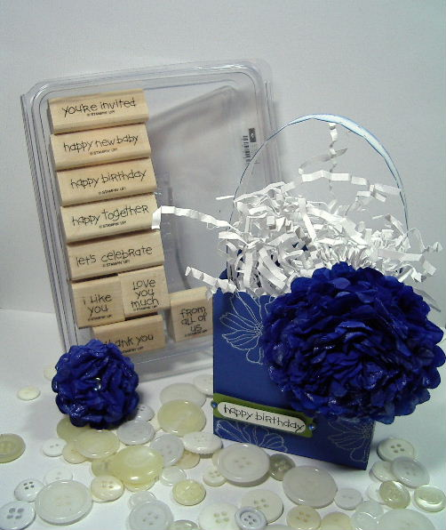 Brilliant Blue tissue flower favor box