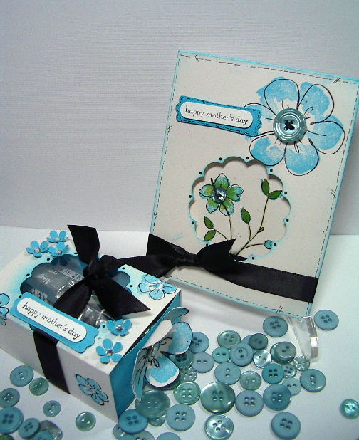Happy Mother day turquoise box & card