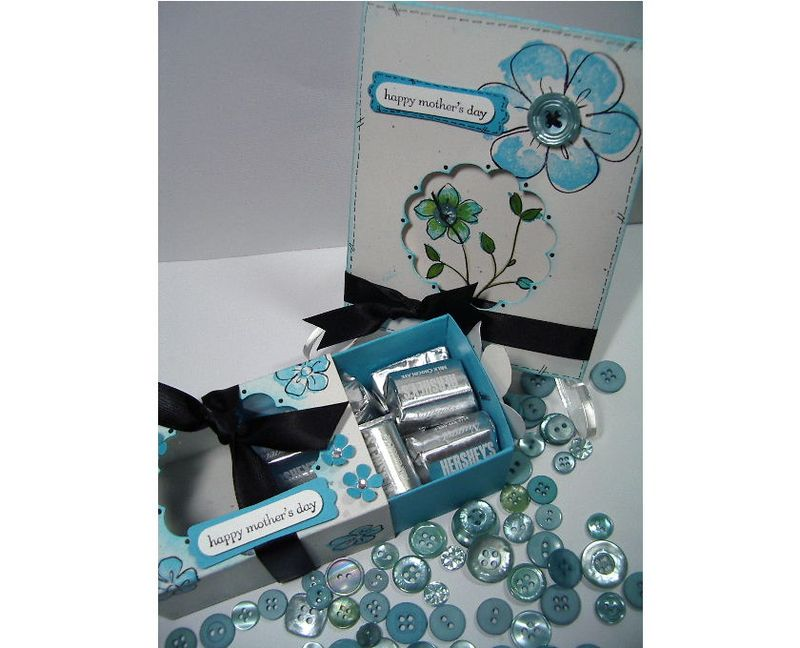 Happy Mothers Day turquoise box & card #2