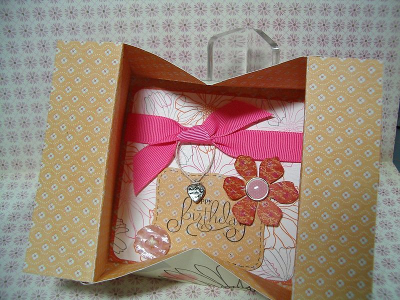 Pop Up Shadow Box card - Opened
