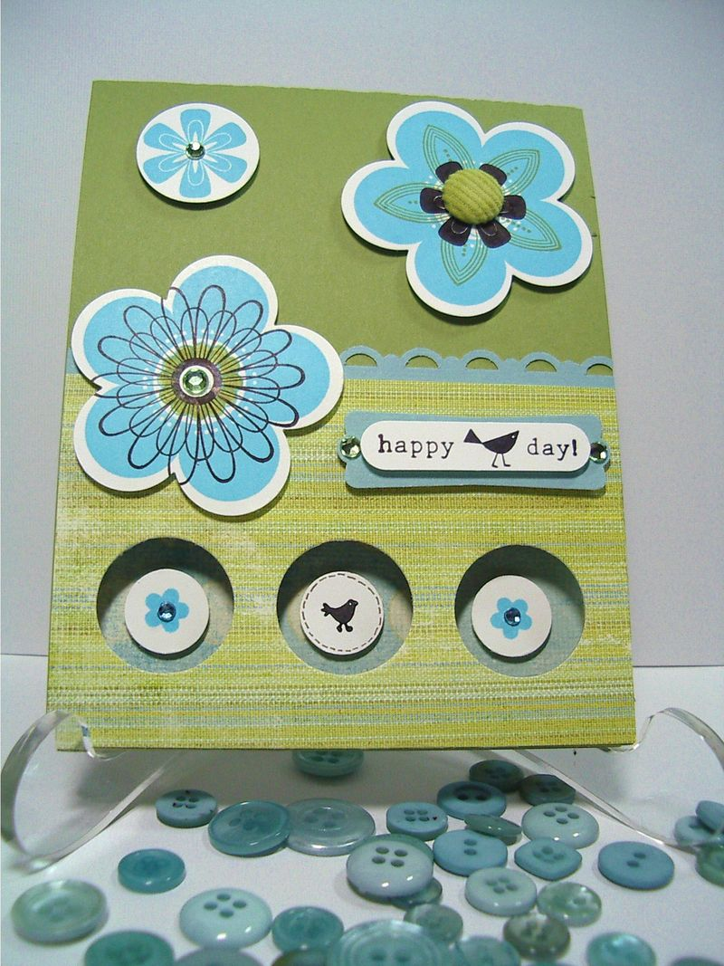 Punched Posies-Happy Bird Day card
