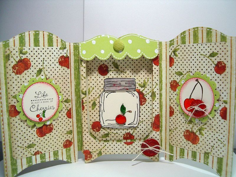 Tri-Fold Shadow Box card-Life Cherries