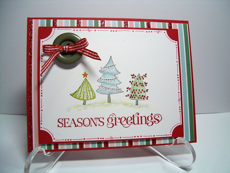 Season Greeting 3 Xmas Trees card