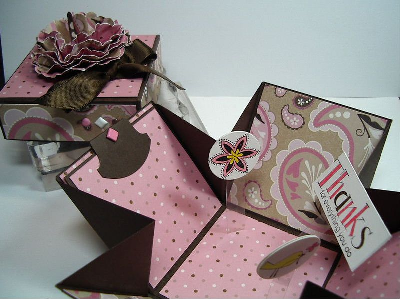 Explosion box - Pink and Brown-opened