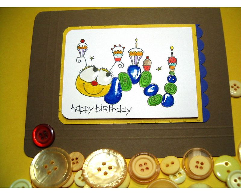 ETSY-Catapillar Cupcake Happy Birthday card