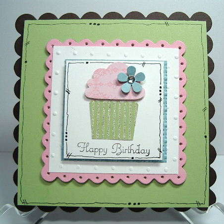 Cupcake punched Scallop card