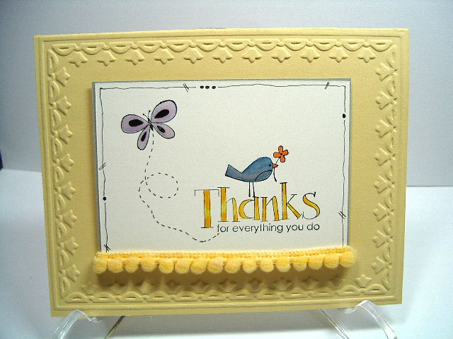 Thanks card with Pom Pom border