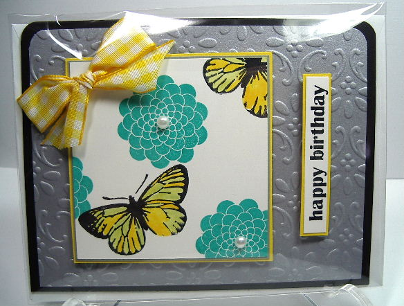 Papertrey flowers-Happy Birthday card