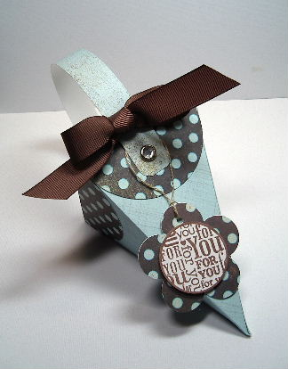 Cone Petal box - in Blue & Brown