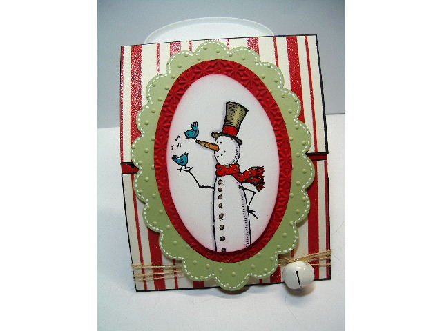 Dec 2011 workshop- Scallop Oval Snowman card #1