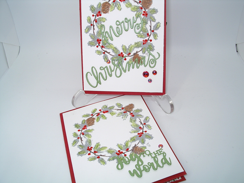 Making more Christmas Cards using Spellbinders 3-D Wreath Stamps and ...